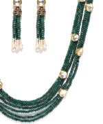 Green Beads Stones Gold Plated Jewellery Set