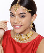 Priyaasi Designer Gold Plated Kundan Studded with Pearls Choker Necklace, Matha Patti and Earrings Traditional Jewellery Set for Women and Girls…