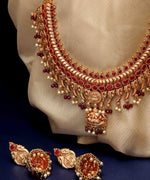 Priyaasi Gold-Plated Ruby Studded Temple Jewellery Set in Maroon Color