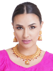 Beads Gold Plated Temple Jewellery Set