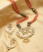 Priyaasi Classic Peach Colour Necklace With Multistrand Beads Chain And Drop Earrings For Women And Girls