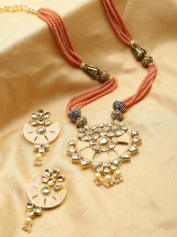 Peach Beads Kundan Pearls Gold Plated Jewellery Set
