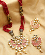 Red Beads Kundan Pearls Gold Plated Jewellery Set