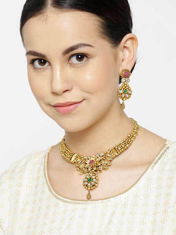Kundan Beads Gold Plated Floral Jewellery Set