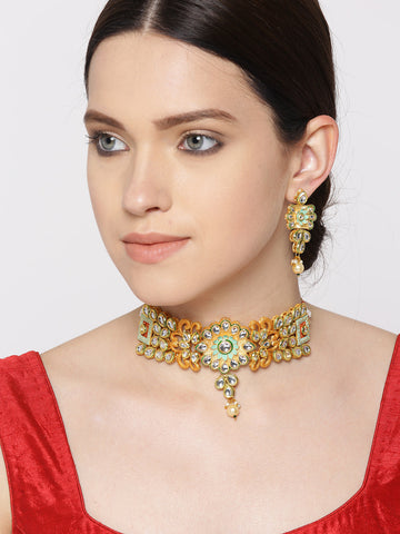 Mint Green Kundan Pearls Gold Plated Meenakari Choker