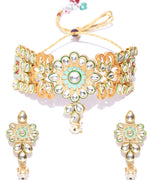 Priyaasi Floral, Gold-Plated Mint Green and Orange Choker Set Studded with Kundan