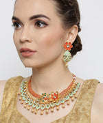 Priyaasi Gold-Plated, Mint Green and Orange Meenakari Jewellery Set in Floral Pattern Studded with Kundan & Pearls