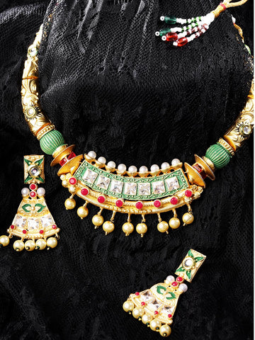 Ruby Pearls Stones Gold Plated Meenakari Jewellery Set