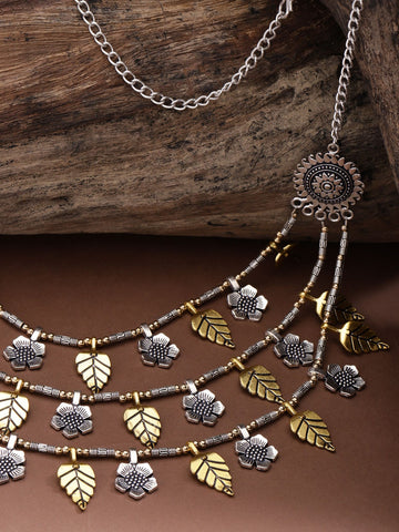Dual-Toned german Silver Oxidised Floral Leaf Layered Necklace
