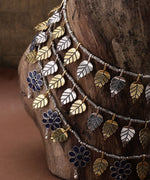 Priyaasi Dual-Toned German Silver Oxidised Floral Layered Necklace