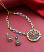 Blue Red Kundan Gold Plated Meenakari Jewellery Set