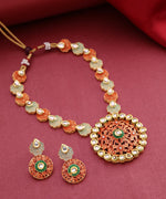 Priyaasi Gold-Plated, Kundan Studded Meenakari Jewellery Set in Red and Green Color