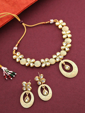 Sea Green Kundan Gold Plated Meenakari Jewellery Set
