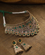Priyaasi Dual-Toned Oxidized Emerald Studded Choker Set in Floral Pattern