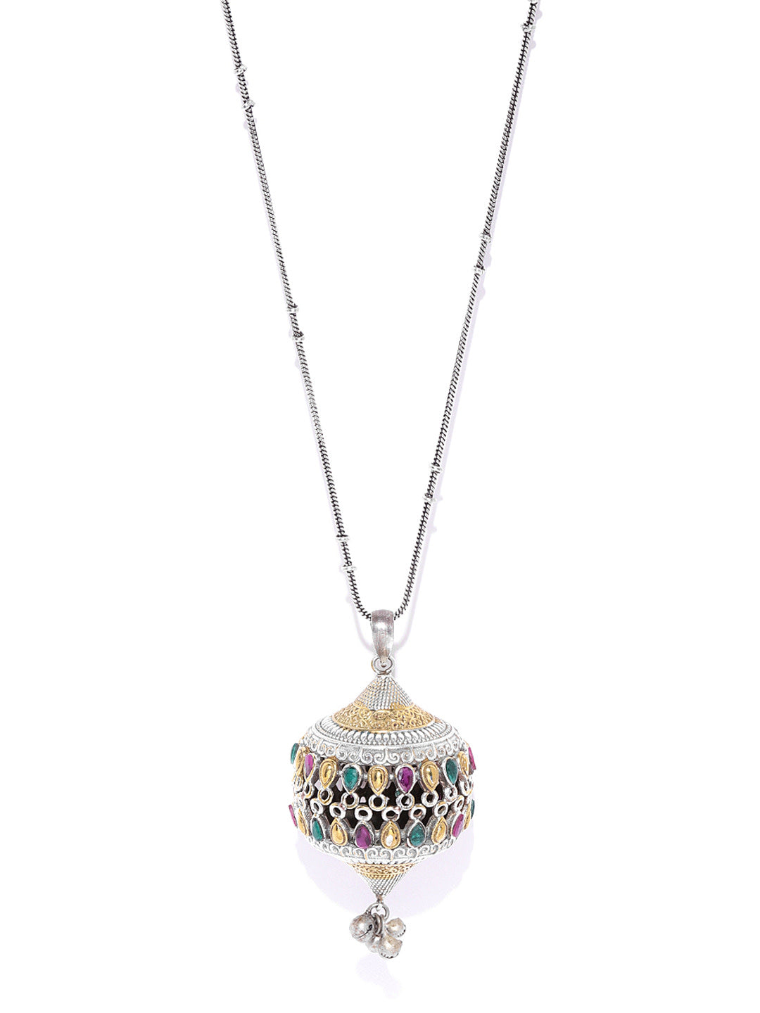 Dual-Toned Multi-Color Stones Silver Plated Ghungroo Pendant