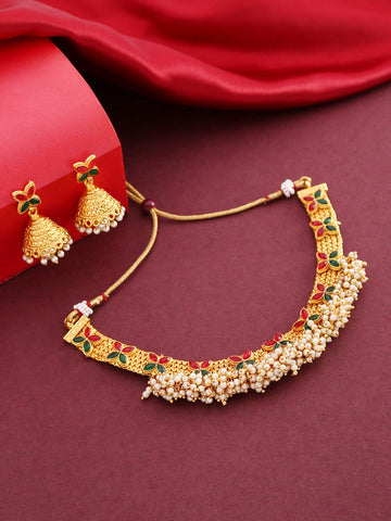 White Beads Ruby Emerlad Gold Plated Jewellery Set
