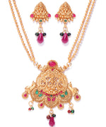 Priyaasi Ruby Emerlad Gold Plated Temple Jewellery Set