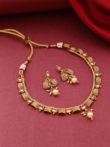 Kundan Pearls Beads Gold Plated Jewellery Set