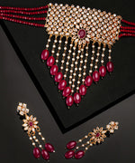 Priyaasi Gold-Plated CZ Studded, Red Choker Set With Pearl and Bead Drops
