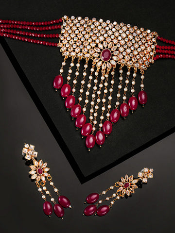 Red Beads Ruby Kundan Cubic Zirconia Gold Plated Jewellery Set