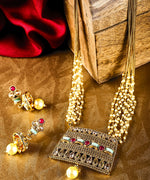 Priyaasi Gold-Plated Ruby and Stones Studded, Multistrand Chain Jewellery Set with Pearl Drops