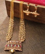 Priyaasi White Beads Kundan Ruby Gold Plated Multistrand Jewellery Set
