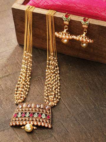 White Beads Kundan Ruby Gold Plated Multistrand Jewellery Set