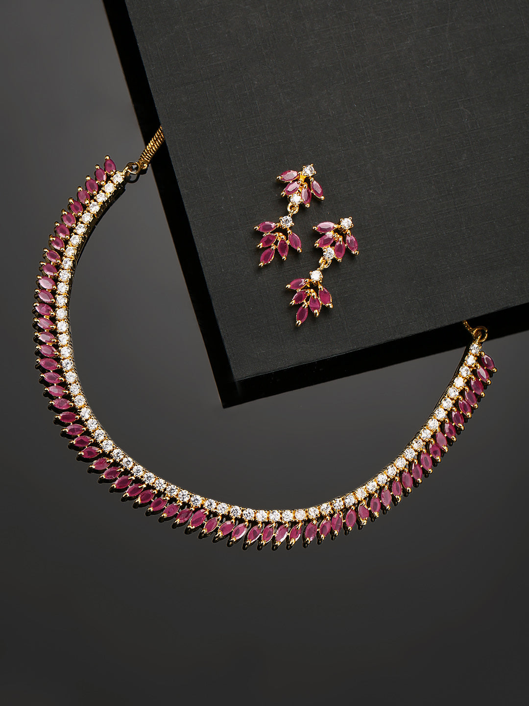 Pink Ruby American Diamond Gold Plated Jewellery Set