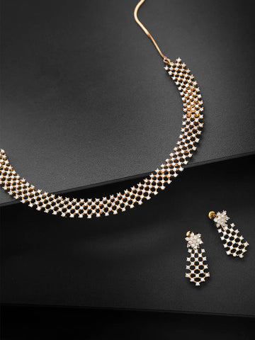 American Diamond Gold Plated Geometric Jewellery Set