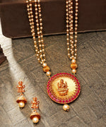 White Beads Pearls Ruby Gold Plated Temple Jewellery Set
