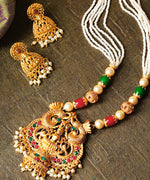 White Beads Ruby Emerald Pearls Gold Plated Temple Jewellery Set