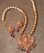 Ruby Emerald Beads Pearls Gold Plated Temple Jewellery Set