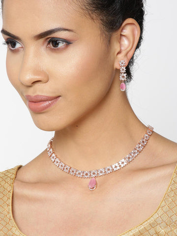 Pink Stones American Diamond Rose Gold Plated Jewellery Set