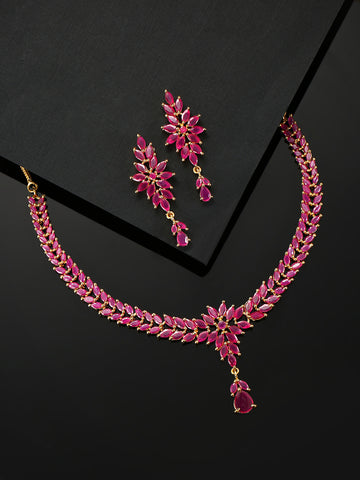 Pink Ruby Gold Plated Floral Jewellery Set