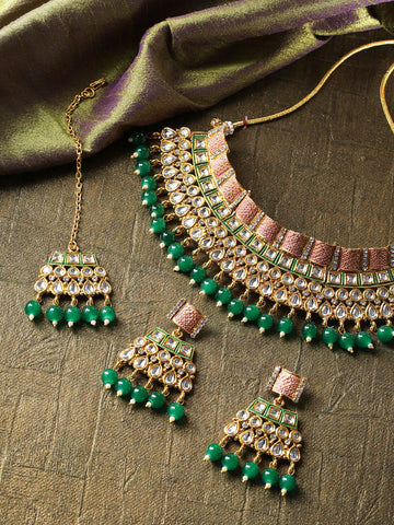 Emerald Kundan Gold Plated MaangTika Jewellery Set