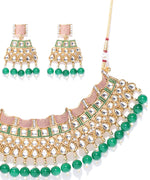 Priyaasi Emerald Kundan Gold Plated MaangTika Jewellery Set