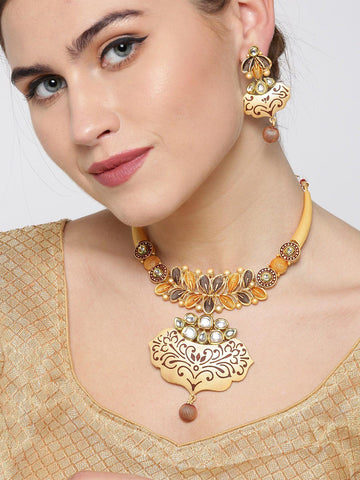 Kundan Gold Plated Floral Jewellery Set