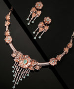 Priyaasi Rose Gold-Plated Mint Green Stones and American Diamond Studded Jewellery Set in Floral Pattern