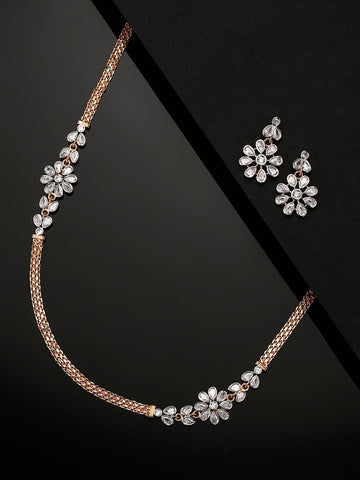 American Diamond Rose Gold Plated Jewellery Set