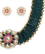 Green Beads Kundan Gold Plated Choker