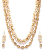 Priyaasi White Beads Gold Plated Jewellery Set