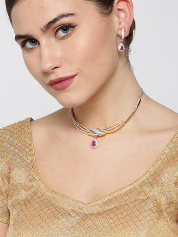 Ruby American Diamond Gold Plated Jewellery Set
