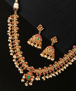 Priyaasi Gold-Plated Maroon And Green Stones Studded Jewellery Set in Floral Patterned with Pearls Drops