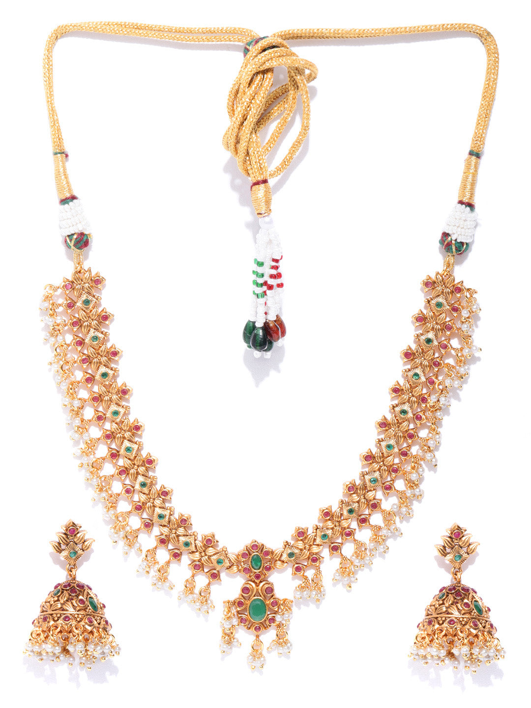 Emerald Beads Gold Plated Jewellery Set