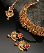 Priyaasi Gold-Plated Multicolor Stones Studded Choker Set with Mangtika in Floral Pattern