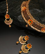 Kundan Ruby Emerald Gold Plated Floral Jewellery Set