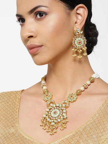 Mint Green Kundan Beads Pearls Gold Plated Jewellery Set