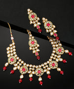 Priyaasi Gold-Plated Ruby And Kundan Studded Red Beaded Jewellery Set and Mangtika with Bead Drops