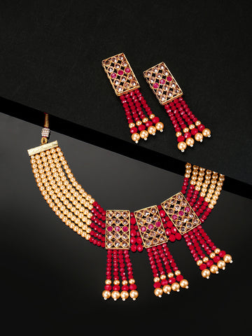 Red Yellow Beads Pearls Gold Plated Jewellery Set