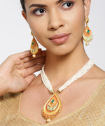 Priyaasi White Beads Pearls Gold Plated Paisley Jewellery Set